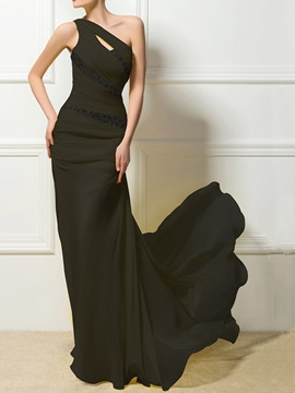 Floor-Length Sleeveless Trumpet Mermaid Black Cocktail Dress