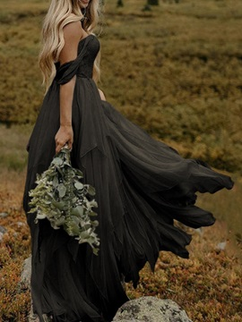 A-Line Short Sleeves Floor-Length Beach Black Wedding Dress & unusual Wedding Dresses