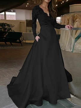 Trumpet Mermaid Floor-Length V-Neck Long Sleeves Garden Outdoor Black Wedding Dress