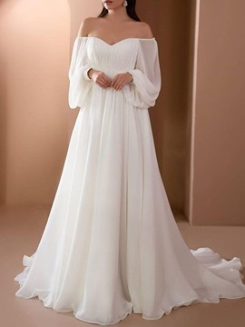 Pleats Long Sleeves Off-The-Shoulder Floor-Length Church Wedding Dress & Wedding Dresses from china