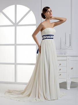 Elegant Empire Waist A-Line Strapless Sashes Court Train Wedding Dress & colored Wedding Dresses
