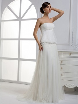 Awesome Column Pleat Strapless Floor-length Court Train Wedding Dress & Wedding Dresses 2012