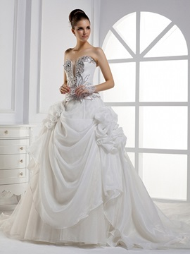 Dramatic Ball Gown Sweetheart Floor-length Cathedral Train Flowers Wedding Dress & Wedding Dresses 2012