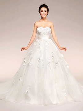 Charming A Line Strapless Flowers Sashes Bowknot Court Train Maternity Wedding Dress & amazing Wedding Dresses