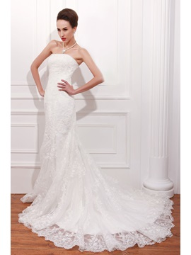Terrific Trumpet/Mermaid Strapless Chapel Lace Renata's Wedding Dress & Wedding Dresses from china