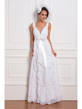 Romantic Empire Straps Floor-Length Ruffles Renata's Wedding Dress & modern Wedding Dresses
