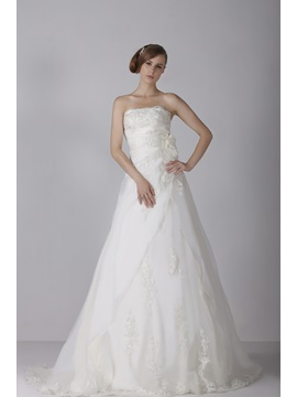 Chic A-Line Strapless Floor-length Sleeveless Appliques Chapel Alicja's Wedding Dress & fashion Wedding Dresses