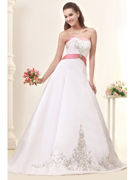 Fabulous A-Line/Princess Strapless Embroidery Chapel Sandra's Wedding Dress & inexpensive Wedding Dresses