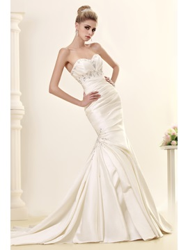 Sexy Ruched Sweetheart Beaded Satin Mermaid Wedding Dress & Wedding Dresses under 300