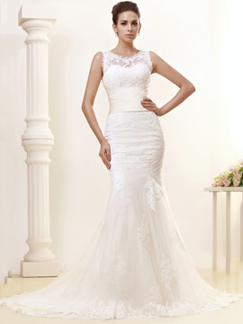 Gorgeous Trumpet/Mermaid Chapel Train Lace Taline's Wedding Dress & quality Wedding Dresses