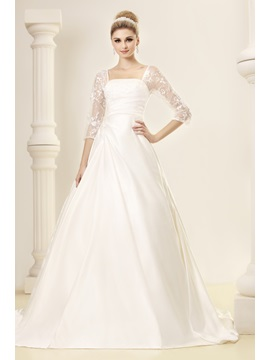 Elegant Half-Sleeves A-line Square Dasha's Wedding Dress & colorful Wedding Dresses
