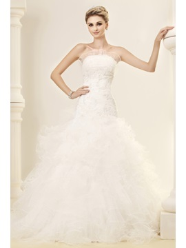 Gorgeous Strapless Sleeveless Ruffles Wedding Dress & cheap Wedding Dresses
