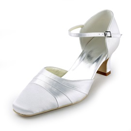 White Satin Chunky Heels Closed-toe Wedding Shoes