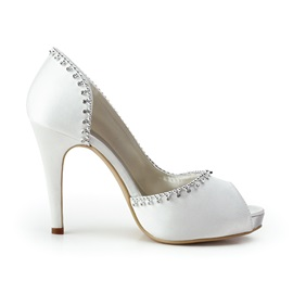 Elegant White Satin Stiletto Heels Peep-toe Wedding Bridal Shoes