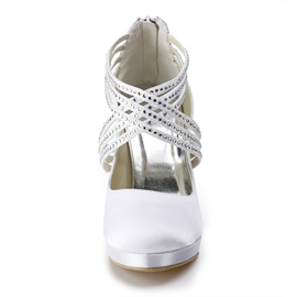 Elegant Rhinestone Satin Round Toe Wedding Shoes