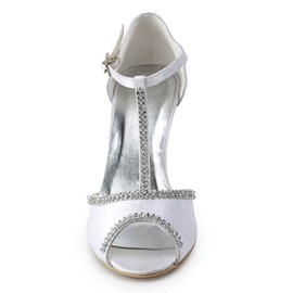 Fashion White Satin Wedge Heels Peep-toe Wedding Shoes