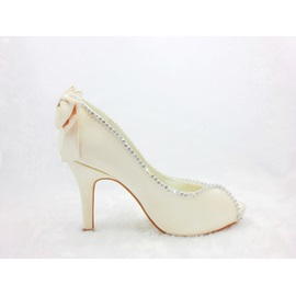 Fashion Satin Stiletto Heels Peep-toe Wedding Bridal Shoes