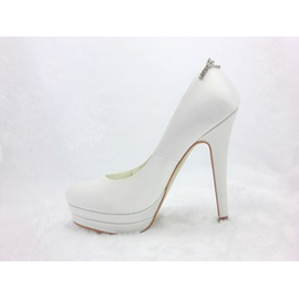 Honey Stiletto Heels Closed-toe Satin Wedding Shoes