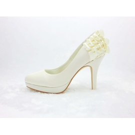 New Satin Stiletto Heels Closed Toe Wedding Bridal Shoes