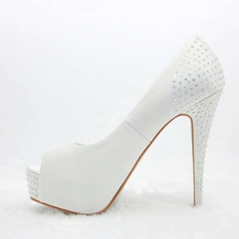 White Satin Stiletto Heels Peep Toe Prom/Evening Shoes