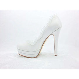 Noble White Platform Satin Stiletto Heels Closed Toe Wedding Shoes