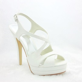Sexy White Stiletto Heels Sling-back Wedding Bridal Shoes