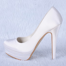 Satin Stiletto Heels Wedding Shoes