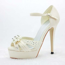 Elegant Platform Peep Toe Stiletto Heels Wedding Shoes
