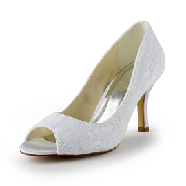 Pretty Stiletto Heels Peep-toe Lace Wedding Shoes
