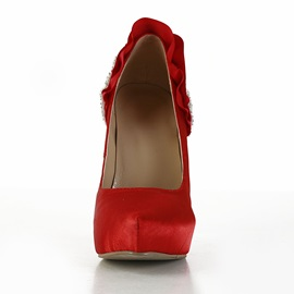 Red Color Satin Upper Women's Shoes