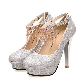 Hottest Silver Sequins Upper Close Toe Stiletto Heels Tassel Prom Shoes