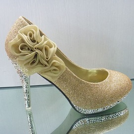 Fantastic Five Roses Golden Heels Women's Prom Shoes