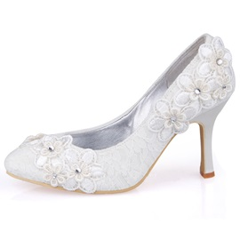 Latest Peep-toe Lace Flowers Stiletto Heel Wedding Shoes