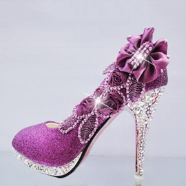 Sequins Applique Stiletto Heels Wedding Shoes