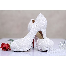 Luxurious Heart-Shaped Diamond White Pearl Closed Toe Stiletto Heel Wedding Shoes