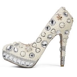 Aestheticism Rhinestone Closed Toe Stiletto Heel White Pearl Wedding Shoes