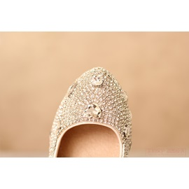 Aestheticism Closed Toe Stiletto Heel Rhinestone Wedding Shoes