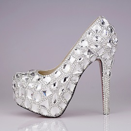 Romantic Closed Toe Stiletto Heel Crystal Wedding Shoes