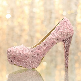 Enchanting Pink Lace Flowers Crystal Closed Toe Stiletto Heel Wedding Shoes