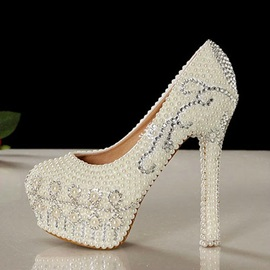Elegant Pearls White High Heel Wedding Shoes