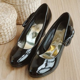 Wedge Heel Patent Leather Bowknot Wedding Shoes