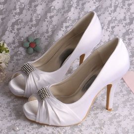 High-Level Satin Open Toe Stiletto Heels Wedding Shoes