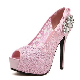 Rhinestone Net Peep-Toe High Heels