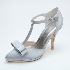 Dazzling T-Shaped Strap Point Toe Satin Wedding Shoes