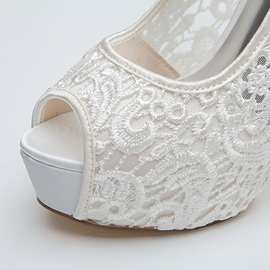 Bowknot Peep-Toe Lace Wedding Shoes