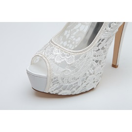 Classy Peep-Toe High Heel Lace Wedding Shoes
