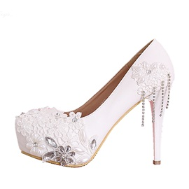 Courtlike Beading Lace Stiletto Heels Wedding Shoes