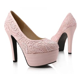 Trendy Stiletto Heels Platform Lace Wedding Shoes