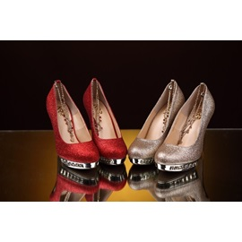 New Shinning High heels Pure Color Wedding Shoes