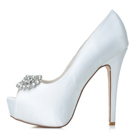 New Shinning Pure Color High Heels Open Toe Wedding Shoes